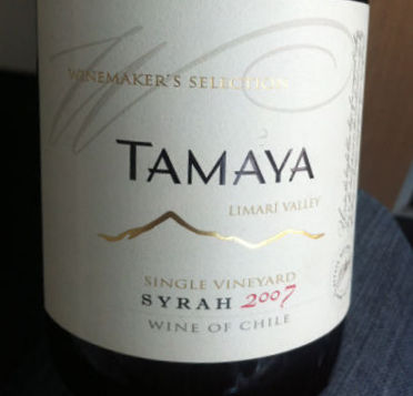 Tamaya Winemaker Selection Syrah, 2007